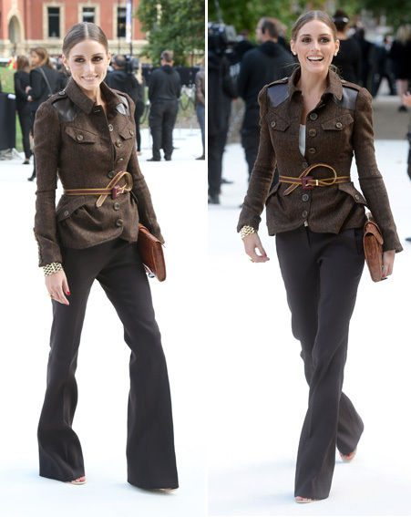 Olivia Palermo stunned at Burberry Prorsum in a tweed jacket and bell trouser ensemble
