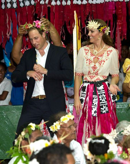 Kate Middleton donned a grass skirt in the Solomon Islands as she danced with Wills