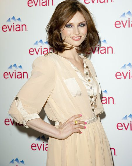 Sophie Ellis-Bextor showed off a fantastic dress from OwnTheRunway.com at the evian launch