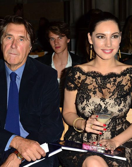 Kelly Brook sat front row next to Bryan Ferry at London Fashion Week 2012