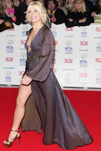 Rachel Wilde strutted onto the carpet in a thigh-split gown