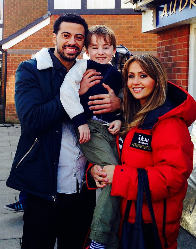 Back on set with my Corrie family!.. Dean and Charlie who play Luke and Liam