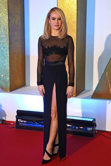 Amanda Holden shows off slim figure in stunning sheer black dress