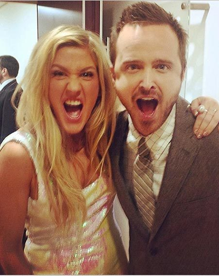 The BRIT Award winner couldn't resist a selfie with the hottie that is Aaron Paul