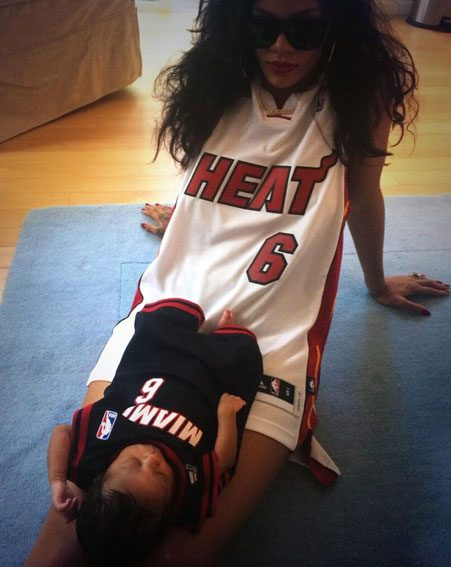 Rihanna played dress up with the new addition to the family