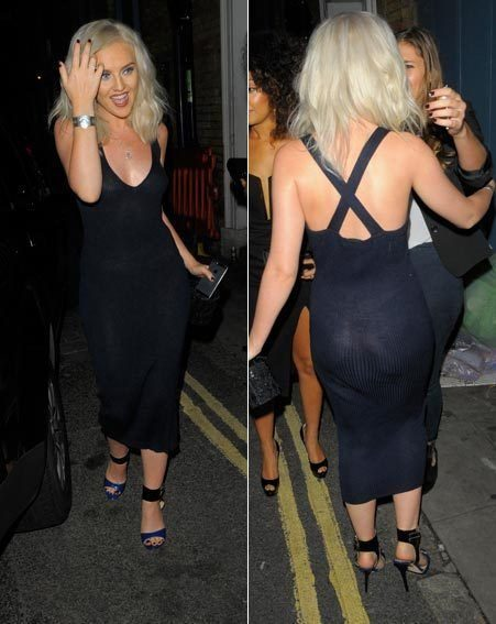 Perrie Edwards bared all in a navy see-through dress