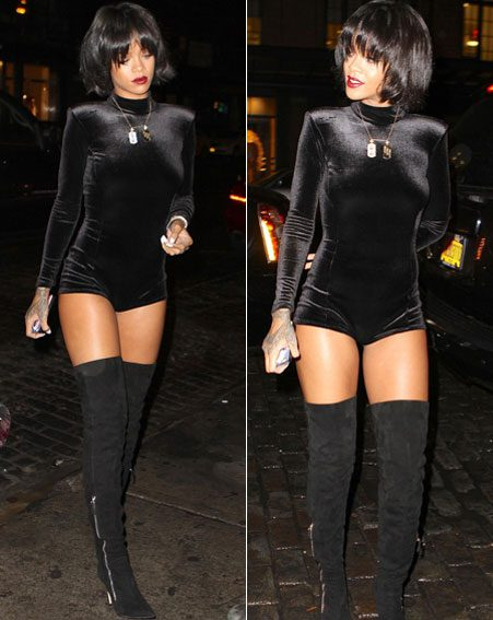 Rihanna wore her own River Island playsuit for a night out