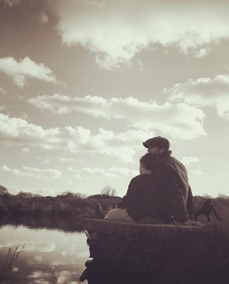 David cosies up to son Cruz and Olive by the lake {David Beckham/ Instagram]