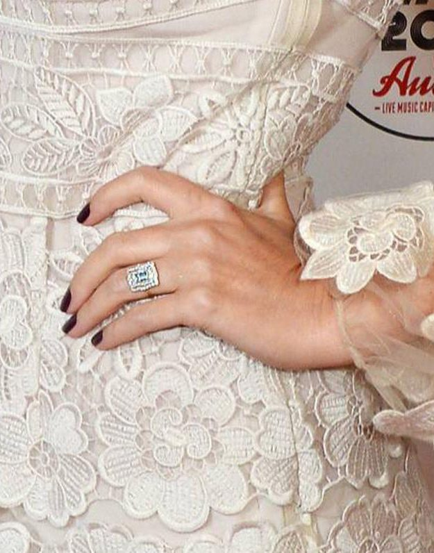 Kylie Minogue's diamond ring was obvious for all to see