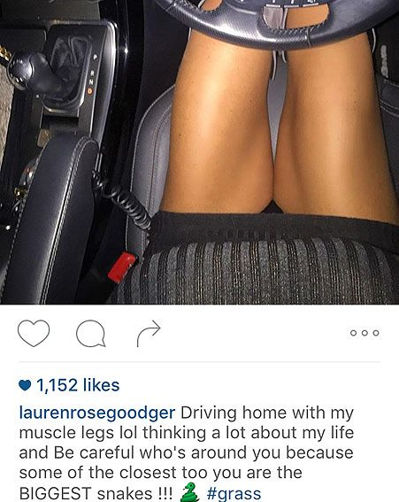 The TOWIE star has fans asking what that photo had to do with the caption