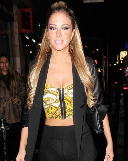 Tulisa suffered an embarrassing wardrobe malfunction as she partied in London