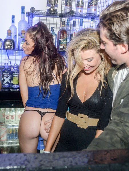 Jess Impiazzi flashed her bum during a night with the MIC cast
