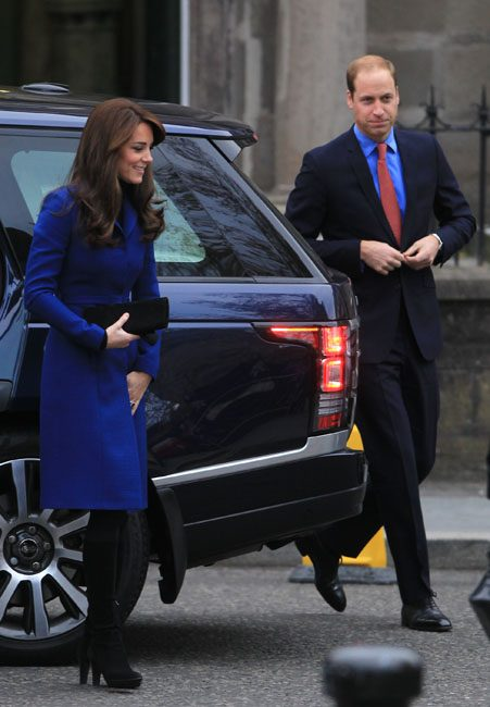 Prince William co-ordinated with his wife in a blue shirt