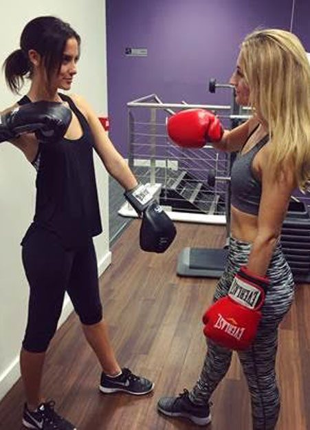 Lucy Watson works out with her little sister Tiffany Watson