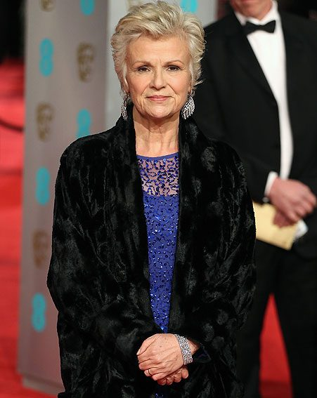 Julie Walter's somehow manages to lose one of her earrings at the BAFTAs