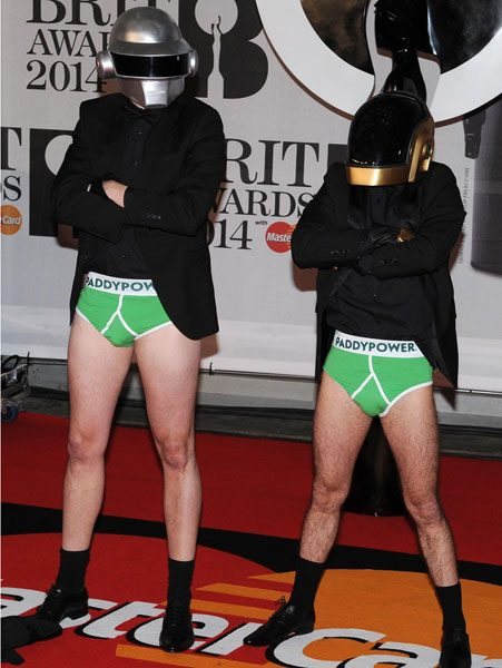 The imposters stripped off on the red carpet to show Paddy Power's world famous Lucky Pants