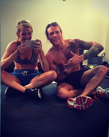 Ellie Goulding and Dougie Poynter showed off their matching ripped bodies following intense gym session