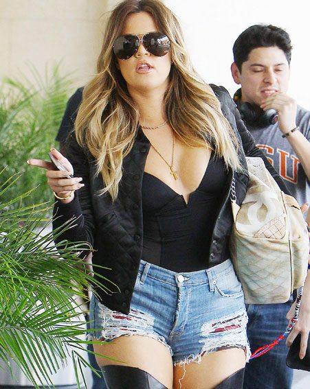 Khloe Kardashian strutted around Hollywood in thigh-high black boots