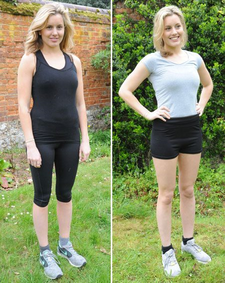 Caggie Dunlop before and after her seven-pound weight loss