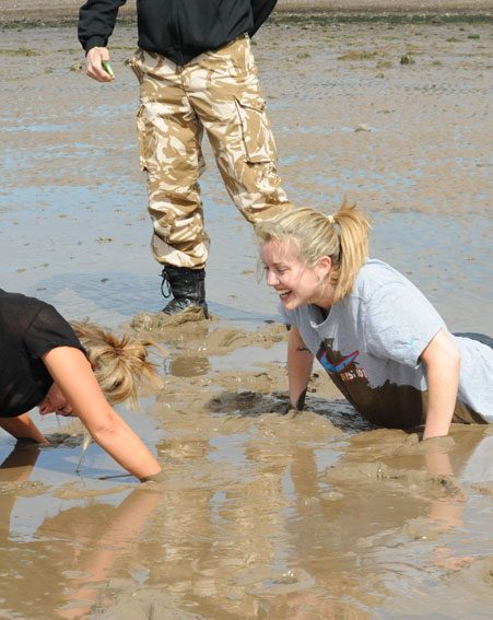 The ex-E4 beauty was forced to do press ups in the mud as part of the gruelling boot camp