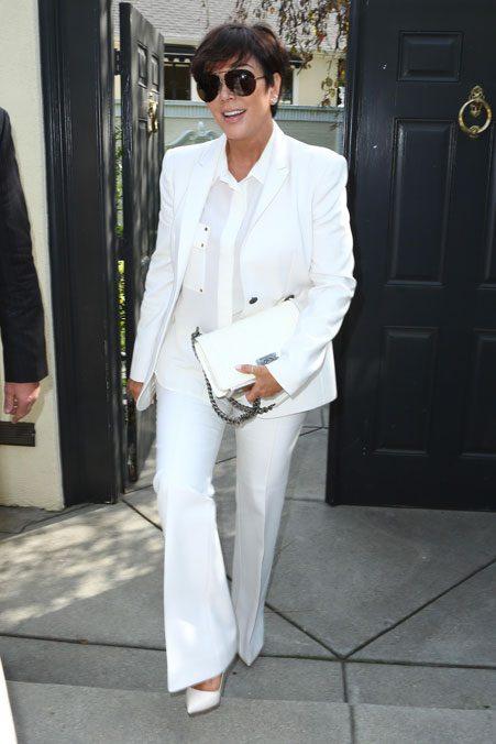 Momager Kris Jenner wore a white tuxedo
