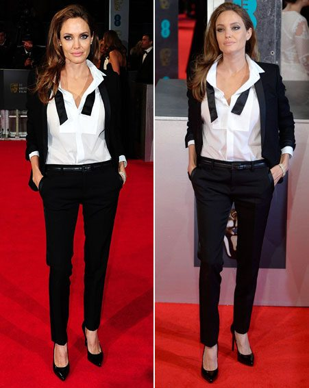 The mum-of-six strutted her stuff in the sexy Saint Laurent suit