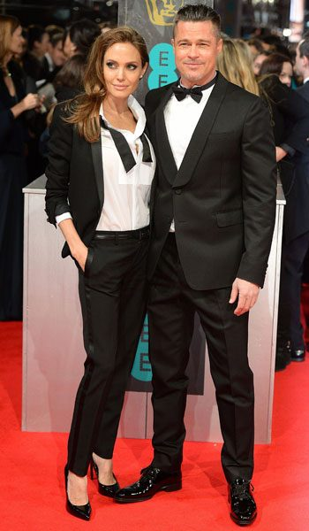 Angelina Jolie and Brad Pitt enjoyed a his 'n hers tux moment on the BAFTAs red carpet