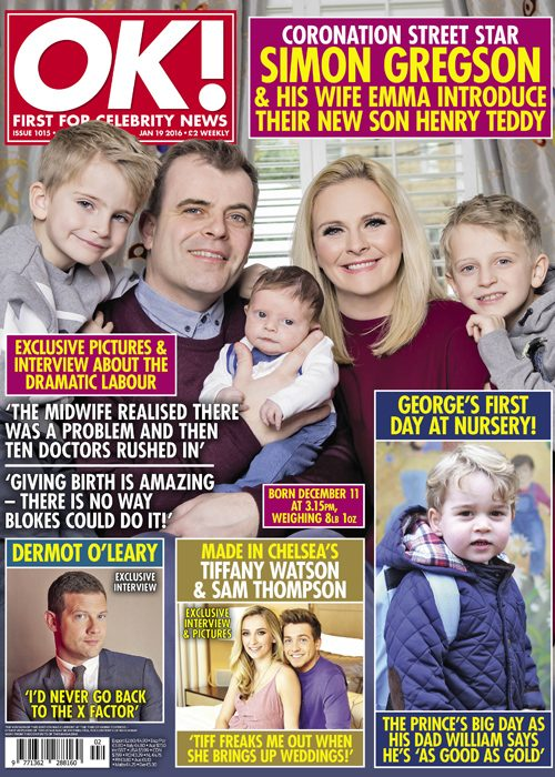 Simon Gregson and his wife Emma open up about the birth of his newborn son Henry