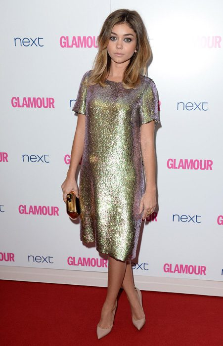 Actress Sarah Hyland shimmered in her striking sequinned shift dress