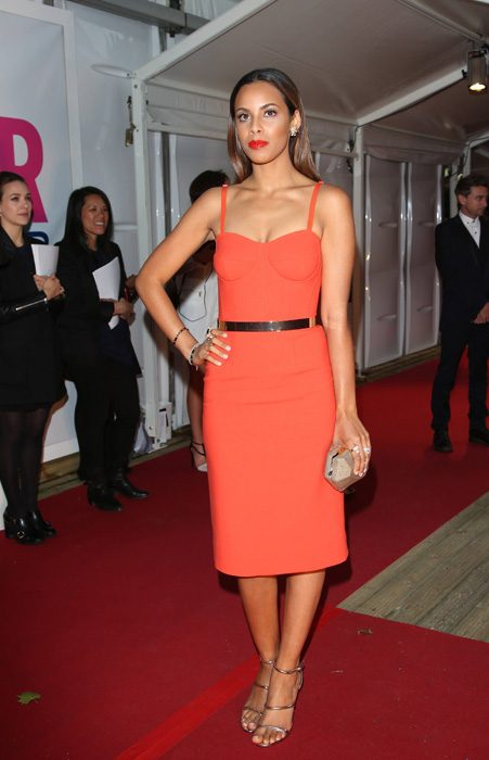 Rochelle Humes looked sizzling hot in this orange bodycon dress