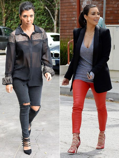 Both Kourtney Kardashian and Kim Kardashian wear stylish trousers for KUWTK filming