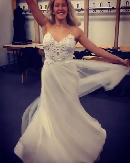 Ellie Goulding posed in a wedding dress