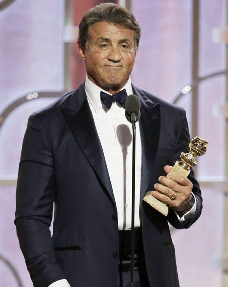 Sylvester Stallone accepts the award for Best Supporting Actor for Creed
