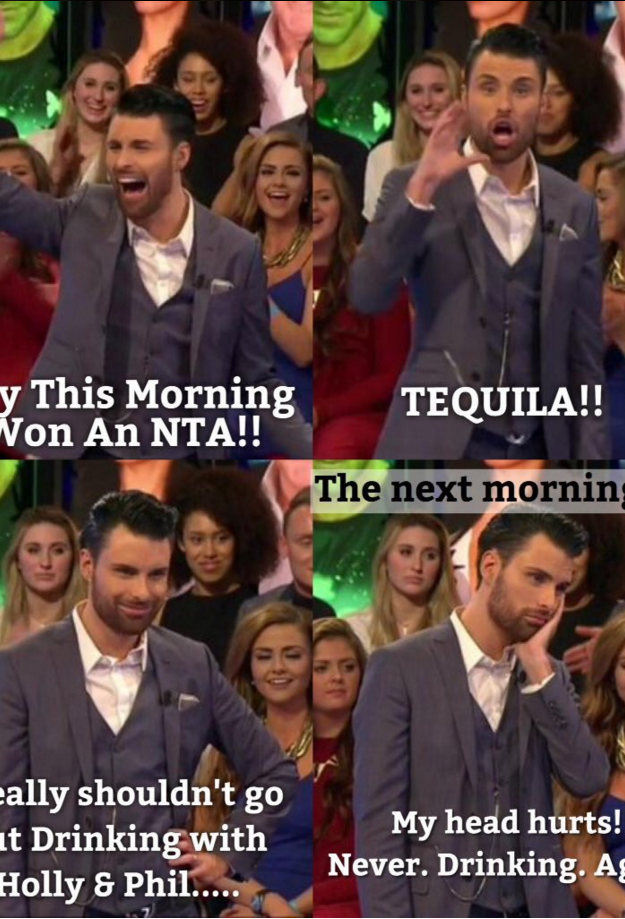 Rylan Clark-Neal was regretting his big night out at the National Television Awards 2016