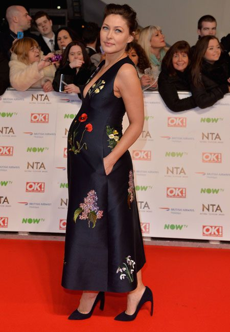 Emma Willis nailed maternity chic in a black dress